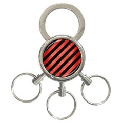 Stripes3 Black Marble & Red Brushed Metal (r) 3 Ring Key Chains