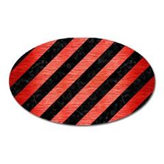 Stripes3 Black Marble & Red Brushed Metal (r) Oval Magnet by trendistuff