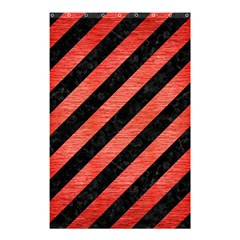 Stripes3 Black Marble & Red Brushed Metal (r) Shower Curtain 48  X 72  (small)  by trendistuff