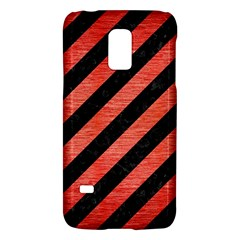 Stripes3 Black Marble & Red Brushed Metal (r) Galaxy S5 Mini by trendistuff