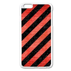 Stripes3 Black Marble & Red Brushed Metal (r) Apple Iphone 6 Plus/6s Plus Enamel White Case by trendistuff