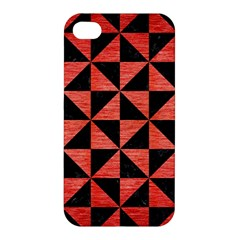 Triangle1 Black Marble & Red Brushed Metal Apple Iphone 4/4s Premium Hardshell Case by trendistuff