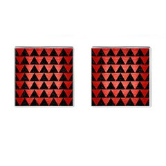 Triangle2 Black Marble & Red Brushed Metal Cufflinks (square) by trendistuff