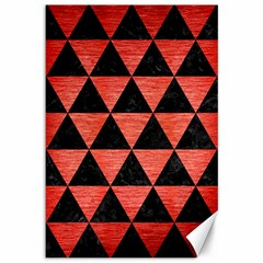 Triangle3 Black Marble & Red Brushed Metal Canvas 12  X 18