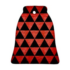 Triangle3 Black Marble & Red Brushed Metal Bell Ornament (two Sides) by trendistuff
