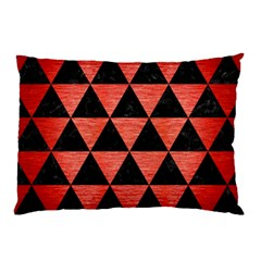 Triangle3 Black Marble & Red Brushed Metal Pillow Case (two Sides) by trendistuff