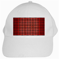 Woven1 Black Marble & Red Brushed Metal White Cap by trendistuff