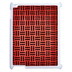 Woven1 Black Marble & Red Brushed Metal Apple Ipad 2 Case (white) by trendistuff