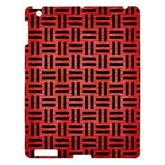Woven1 Black Marble & Red Brushed Metal Apple Ipad 3/4 Hardshell Case by trendistuff