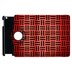 Woven1 Black Marble & Red Brushed Metal Apple Ipad 2 Flip 360 Case by trendistuff