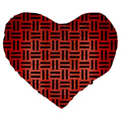 Woven1 Black Marble & Red Brushed Metal Large 19  Premium Heart Shape Cushions by trendistuff