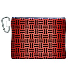 Woven1 Black Marble & Red Brushed Metal Canvas Cosmetic Bag (xl) by trendistuff
