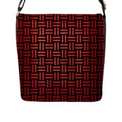 Woven1 Black Marble & Red Brushed Metal (r) Flap Messenger Bag (l)  by trendistuff