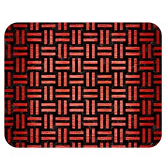 Woven1 Black Marble & Red Brushed Metal (r) Double Sided Flano Blanket (medium)  by trendistuff