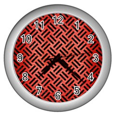 Woven2 Black Marble & Red Brushed Metal Wall Clocks (silver)  by trendistuff