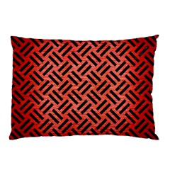 Woven2 Black Marble & Red Brushed Metal Pillow Case by trendistuff