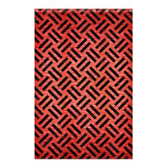 Woven2 Black Marble & Red Brushed Metal Shower Curtain 48  X 72  (small)  by trendistuff