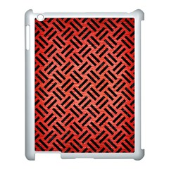 Woven2 Black Marble & Red Brushed Metal Apple Ipad 3/4 Case (white)