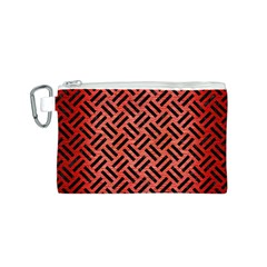 Woven2 Black Marble & Red Brushed Metal Canvas Cosmetic Bag (s) by trendistuff