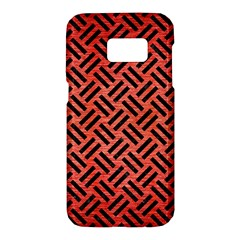 Woven2 Black Marble & Red Brushed Metal Samsung Galaxy S7 Hardshell Case  by trendistuff