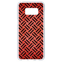 Woven2 Black Marble & Red Brushed Metal Samsung Galaxy S8 White Seamless Case by trendistuff