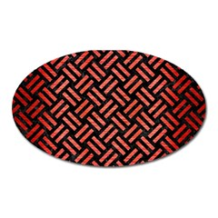 Woven2 Black Marble & Red Brushed Metal (r) Oval Magnet by trendistuff