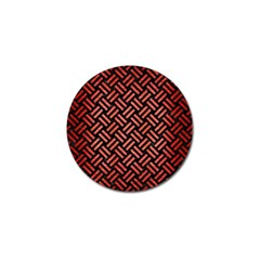 Woven2 Black Marble & Red Brushed Metal (r) Golf Ball Marker (10 Pack) by trendistuff