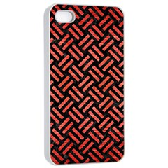Woven2 Black Marble & Red Brushed Metal (r) Apple Iphone 4/4s Seamless Case (white) by trendistuff