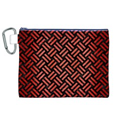 Woven2 Black Marble & Red Brushed Metal (r) Canvas Cosmetic Bag (xl) by trendistuff