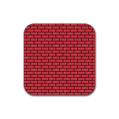 Brick1 Black Marble & Red Colored Pencil Rubber Square Coaster (4 Pack)  by trendistuff