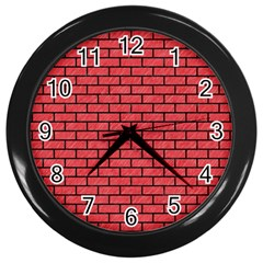 Brick1 Black Marble & Red Colored Pencil Wall Clocks (black) by trendistuff