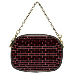 Brick1 Black Marble & Red Colored Pencil (r) Chain Purses (two Sides)