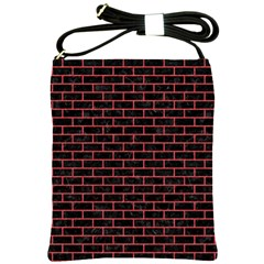 Brick1 Black Marble & Red Colored Pencil (r) Shoulder Sling Bags by trendistuff