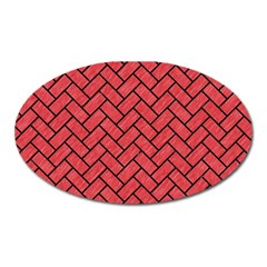 Brick2 Black Marble & Red Colored Pencil Oval Magnet by trendistuff