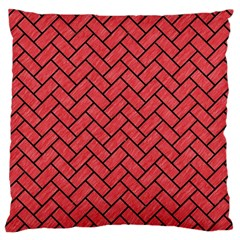 Brick2 Black Marble & Red Colored Pencil Large Cushion Case (two Sides) by trendistuff