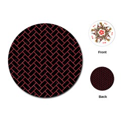 Brick2 Black Marble & Red Colored Pencil (r) Playing Cards (round)  by trendistuff