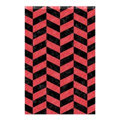 Chevron1 Black Marble & Red Colored Pencil Shower Curtain 48  X 72  (small)  by trendistuff