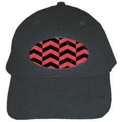 Chevron2 Black Marble & Red Colored Pencil Black Cap by trendistuff