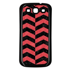 Chevron2 Black Marble & Red Colored Pencil Samsung Galaxy S3 Back Case (black) by trendistuff