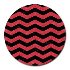 Chevron3 Black Marble & Red Colored Pencil Round Mousepads by trendistuff