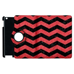 Chevron3 Black Marble & Red Colored Pencil Apple Ipad 2 Flip 360 Case by trendistuff
