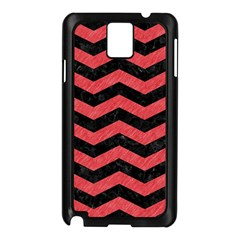 Chevron3 Black Marble & Red Colored Pencil Samsung Galaxy Note 3 N9005 Case (black) by trendistuff