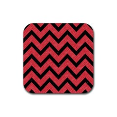 Chevron9 Black Marble & Red Colored Pencil Rubber Square Coaster (4 Pack)  by trendistuff