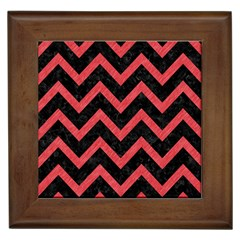 Chevron9 Black Marble & Red Colored Pencil (r) Framed Tiles by trendistuff