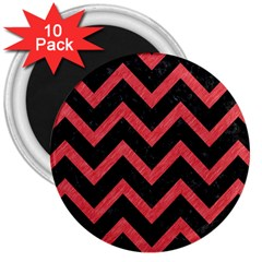 Chevron9 Black Marble & Red Colored Pencil (r) 3  Magnets (10 Pack)  by trendistuff