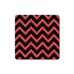Chevron9 Black Marble & Red Colored Pencil (r) Square Magnet by trendistuff