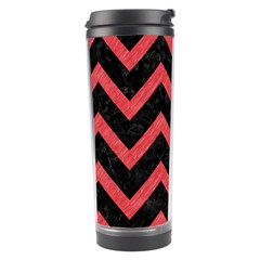 Chevron9 Black Marble & Red Colored Pencil (r) Travel Tumbler by trendistuff