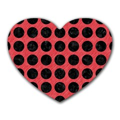 Circles1 Black Marble & Red Colored Pencil Heart Mousepads by trendistuff
