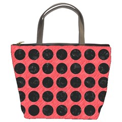 Circles1 Black Marble & Red Colored Pencil Bucket Bags by trendistuff
