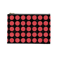 Circles1 Black Marble & Red Colored Pencil (r) Cosmetic Bag (large)  by trendistuff